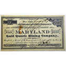 Maryland Gold Quartz Mining Co. 1888 Stock Certificate.