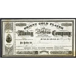 Orient Gold Placer Mining Co. 1889 I/U Stock Certificate