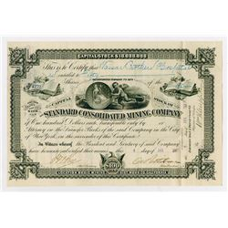 Standard Consolidated Mining Co., 1887 I/U Stock Certificate With Cherub and Coin Vignette.