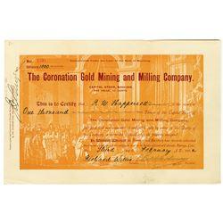 Coronation Mining and Milling Co., 1902 I/U Cripple Creek Stock Certificate.