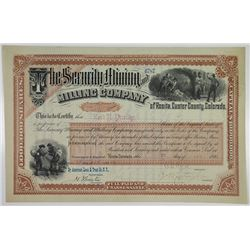 Security Mining and Milling Co. 1888 I/U Stock Certificate