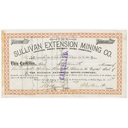 Sullivan Extension Mining Co., 1889  Stock Certificate
