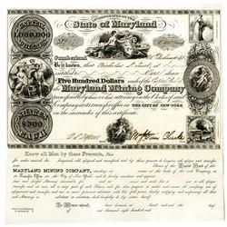 Maryland Mining Company, 1841, I/U Stock Certificate