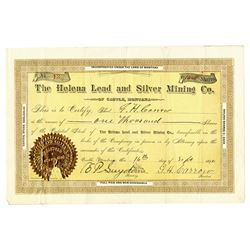 Helena Lead and Silver Mining Co., 1890 I/U Stock Certificate