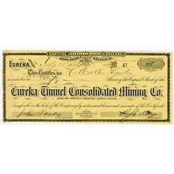 Eureka Tunnel Consolidated Mining Co., 1884 I/U Stock Certificate