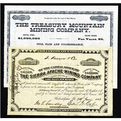 New Mexico, 1883 & 1885 Stock Certificate Pair