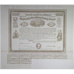 Franklin Silver Mining Company of Colorado, 1869 I/U Bond Signed by B. Franklin Fisher, Civil War Mi