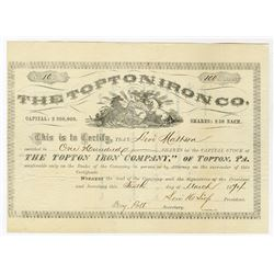 Topton Iron Co., 1874 I/U Stock Certificate