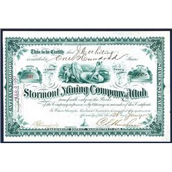 Stormont Mining Co. of Utah, 1887 I/U Stock Certificate.