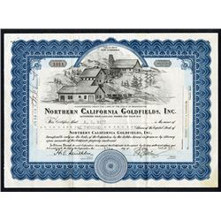 Northern California Goldfields, Inc. 1938 I/U Stock Certificate.