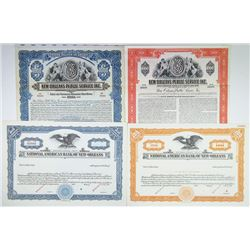 Quartet of Louisiana Related Stock and Bond Specimen Certificates, ca.1920-1950