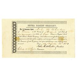 Dover Packet Co., 1854 I/U Stock Certificate