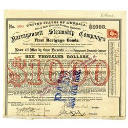 Narragansett Steamship Co., 1869 I/C Bond with General Ambros Burnside Signature as President.