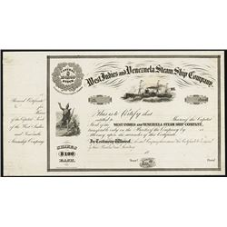 West Indies and Venezuela Steam Ship Co., 1850-60's Proof Stock Certificate