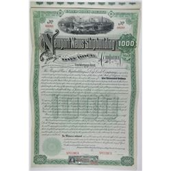 Newport News Shipbuilding and Dry Dock Co. 1890 Specimen Bond