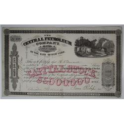 Central Petroleum Co. of the City of New York, 1866 I/U Stock Certificate