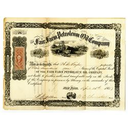 Fair Farm Petroleum Oil Co., 1865 I/U Stock Certificate.
