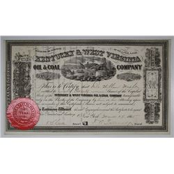 Kentucky & West Virginia Oil & Coal Co., 1865 I/U Stock Certificate