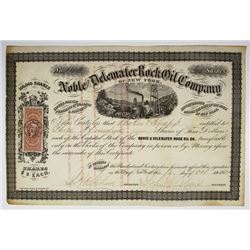 Noble and Delemater Rock Oil Co., 1864 I/U Stock Certificate