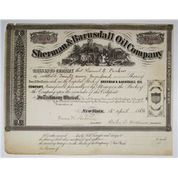Sherman & Barnsdall Oil Co., 1868 I/U Stock Certificate