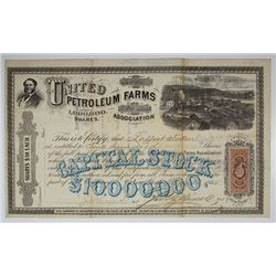 United Petroleum Farms Association, 1865 I/U Stock Certificate