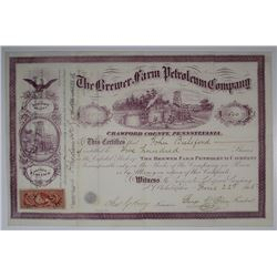 Brewer Farm Petroleum Co., 1865 I/U Stock Certificate