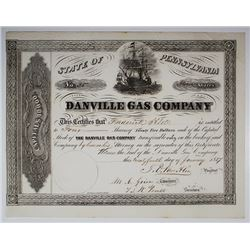 Danville Gas Co., 1857 I/U Stock Certificate