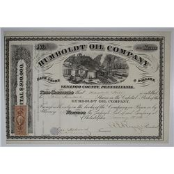 Humboldt Oil Co., 1865 I/U Stock Certificate