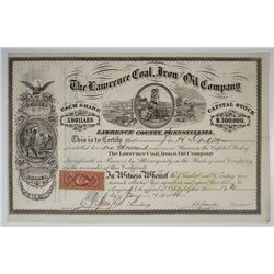 Lawrence Coal, Iron and Oil Co., 1866 I/U Stock Certificate