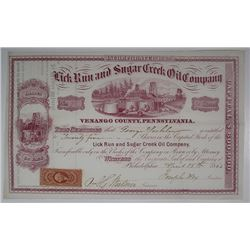 Luck Run and Sugar Creek Oil Co., 1865 I/U Stock Certificate