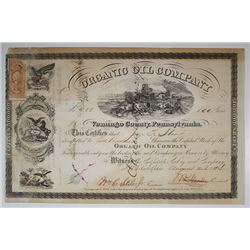Organic Oil Co., 1864 I/C Stock Certificate