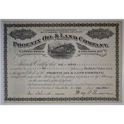 Phoenix Oil & Land Co., 1926 I/C Stock Certificate