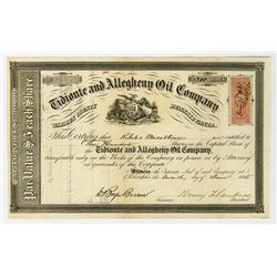 Tidionte and Allegheny Oil Co. 1865 Stock Certificate