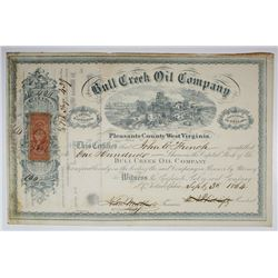 Bull Creek Oil Co., 1864 I/C Stock Certificate