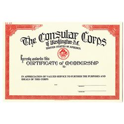 Consular Corps of Washington D.C., ca. 1968, Specimen Certificate of Membership