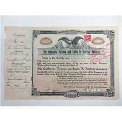 California, Arizona and Santa Fe Railway Co., 1920 I/C Stock Certificate.