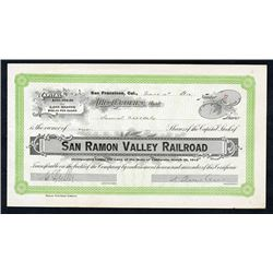 San Ramon Valley Railroad Co., 1912 I/U Stock Certificate.
