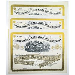 Port Rowan and Lake Shore Railway Co., 1880's U/U Stock Certificate Trio.