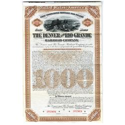 Denver and Rio Grande Railroad Co. 1886 Specimen Bond