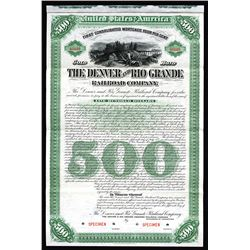 Denver and Rio Grande Railroad Co., 1886, $500 Specimen Bond.