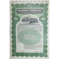 Brunswick and Birmingham Railroad Co., 1902 Specimen Bond
