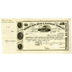 Georgia Rail Road & Banking Co. ca.1830-40's Specimen Production Stock Certificate
