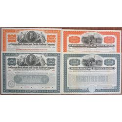 Chicago, Rock Island and Pacific Railway Co., 1898 and 1904 Specimen Bond Quartet