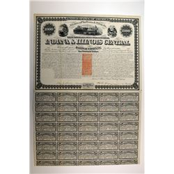 Indiana & Illinois Central Railway Co., 1871 I/C Bond with Imprinted $1 Revenue.