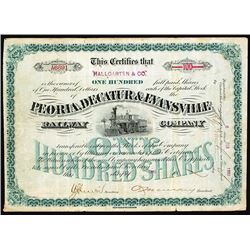 Peoria, Decatur & Evansville Railway Co., 1893 I/U Stock Certificate