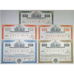 Quintet of Illinois Central Gulf Railroad Co., 1974-1984 Specimen Bonds