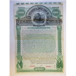 Peoria, Decatur and Evansville Railway Co., 1892 Specimen Bond