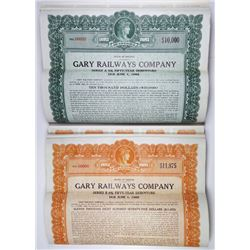 Gary Railways Co., 1932 Specimen Bond Pair.