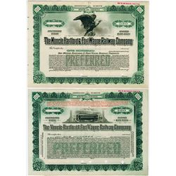 Muncie Hartford & Fort Wayne Railway Co., ca.1906 Pair of Specimen Stock Certificate