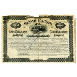 Cedar Rapids Iowa Falls and North Western Railway Co., 1880 Specimen Coupon Bond Rarity.